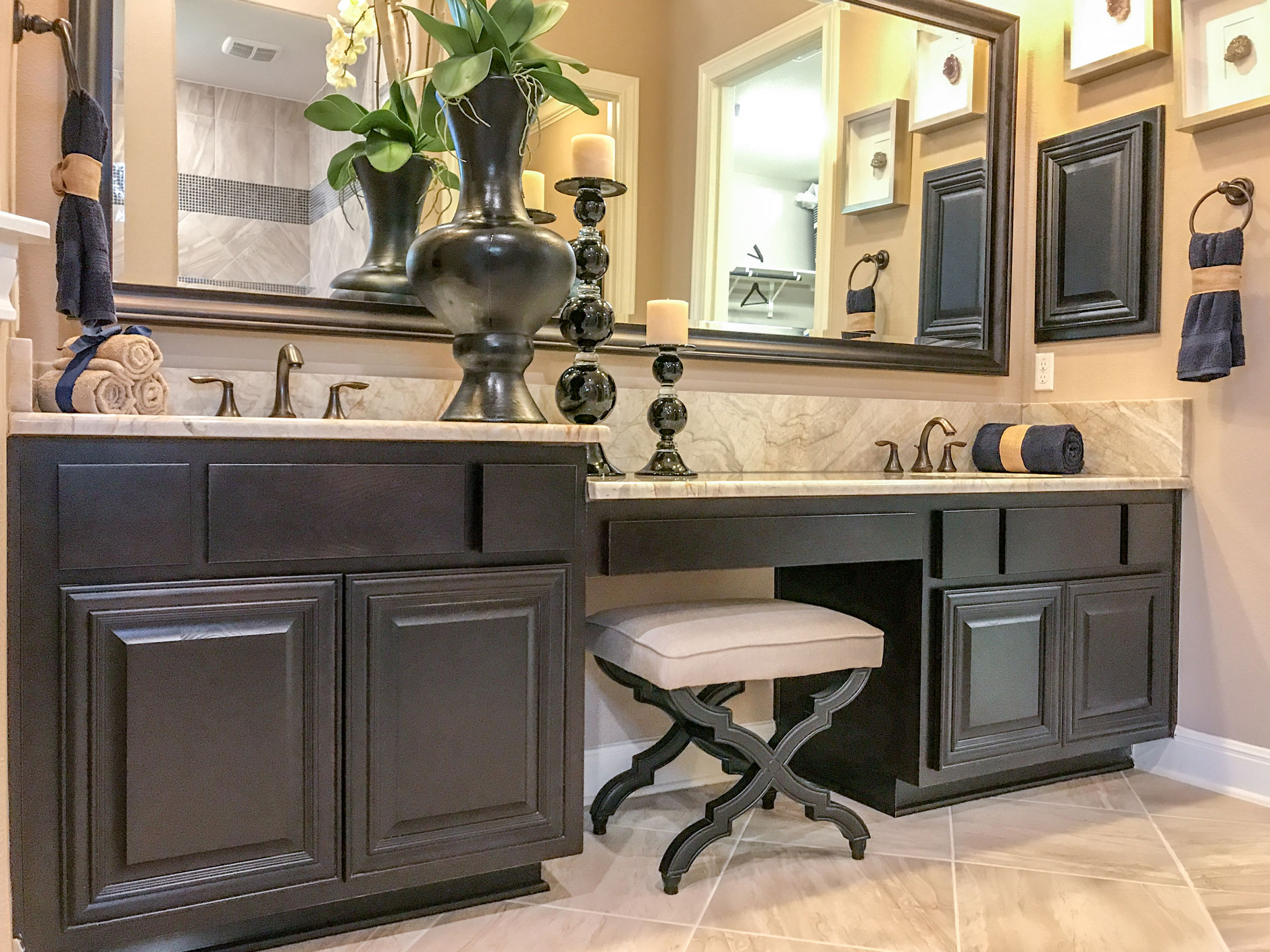 Master bath with TaylorCraft's M24, RP1 mitered doors in beech