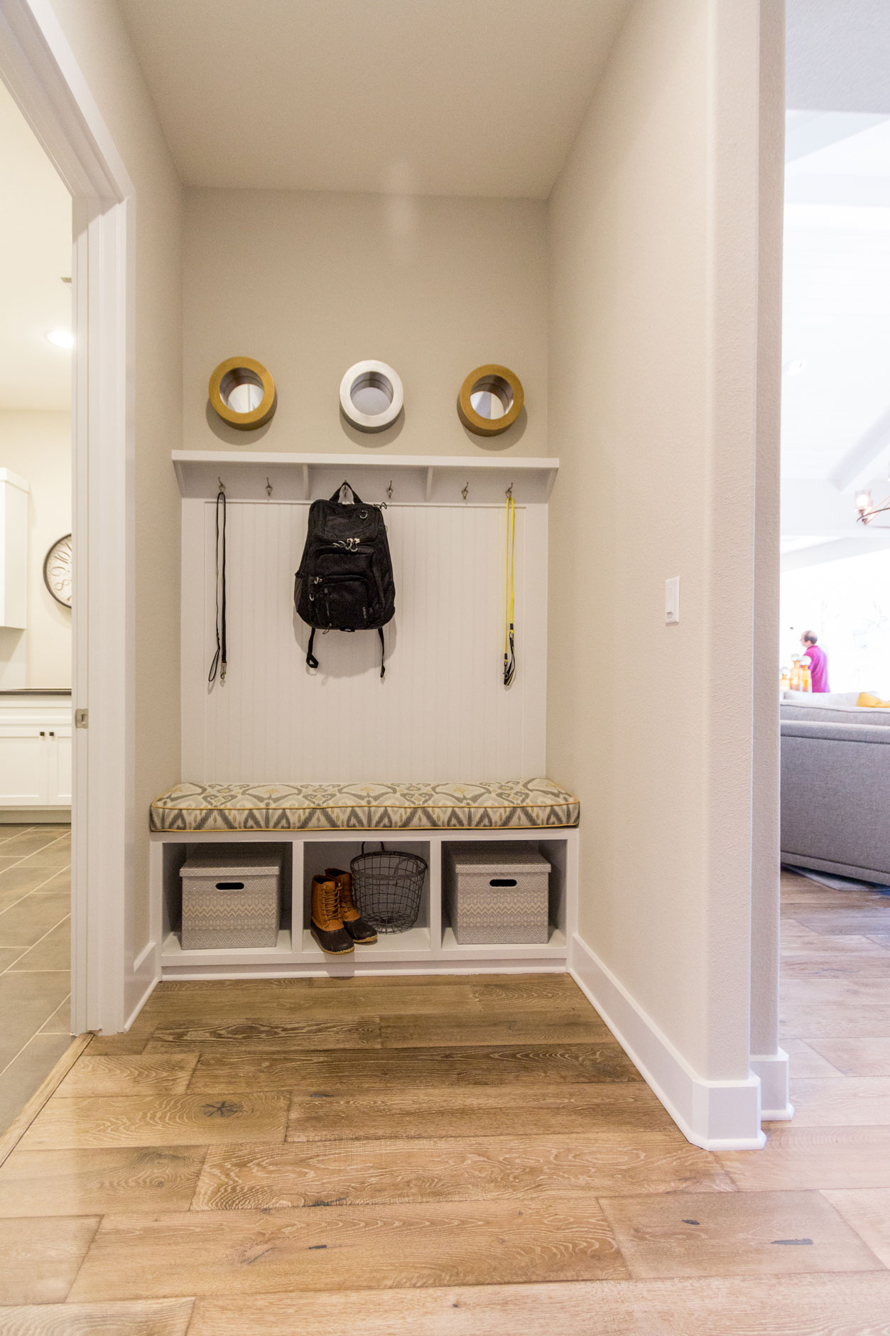 mud room bench seat with beadboard