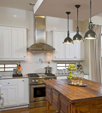 white paint and natural wood cabinets - rustic scandinavian kitchen design