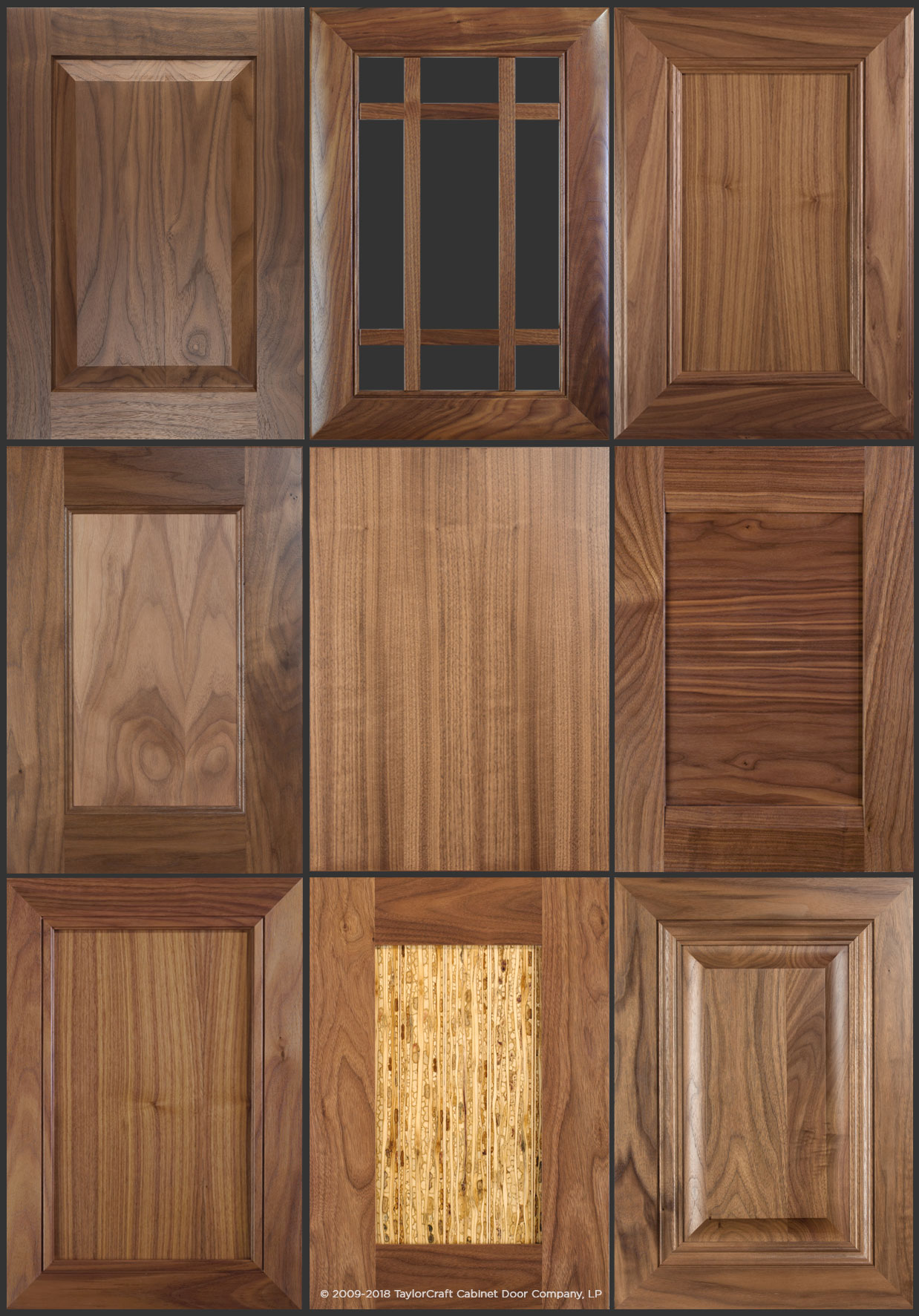 walnut cabinet doors by TaylorCraft Cabinet Door Company