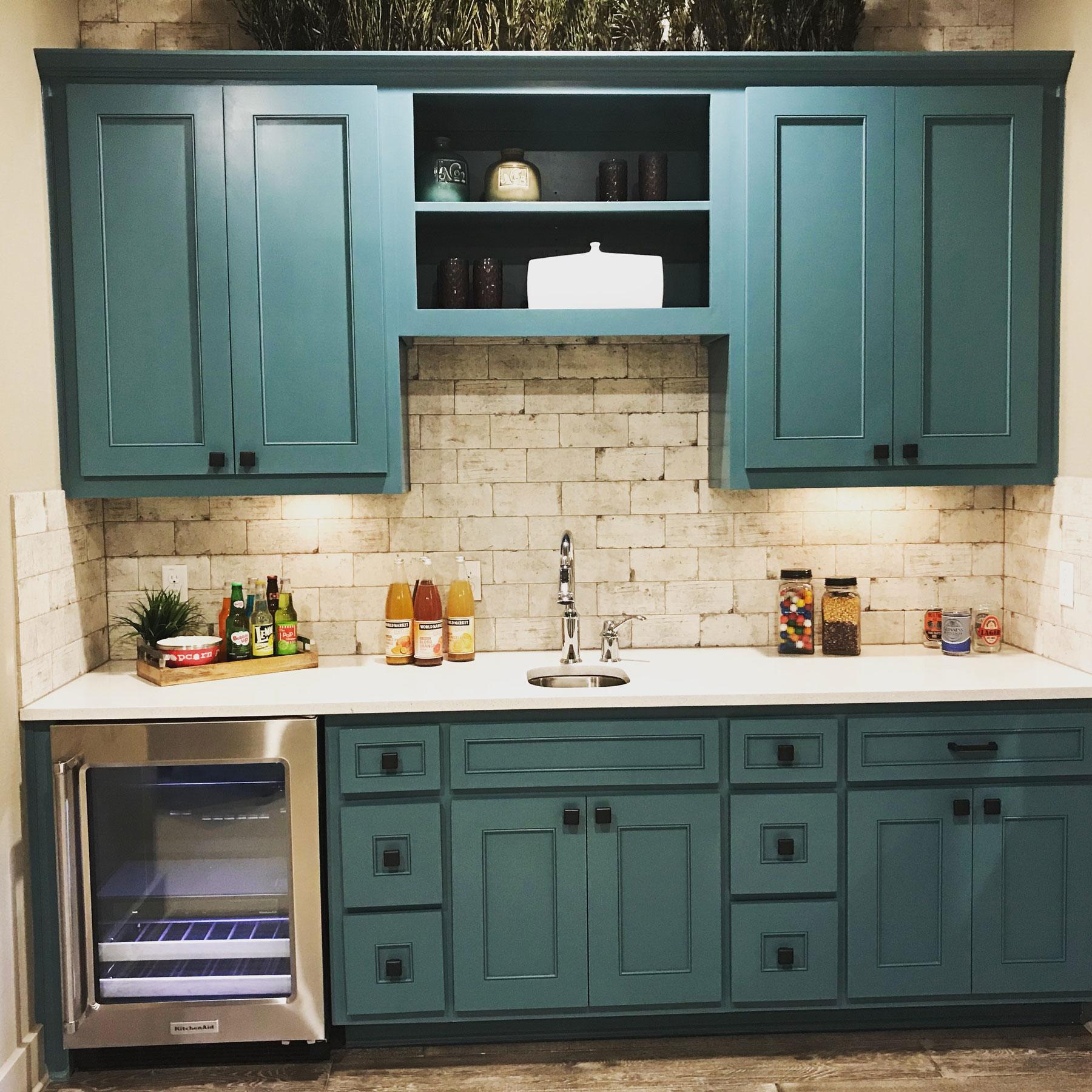 Wet Bar Blue-Green Cabinets