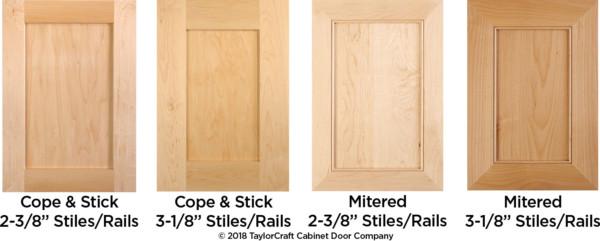 """2-3/8"""" standard vs 3-1/8"""" wide cabinet door stiles and rails"""