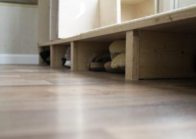 Shoe storage under front step.