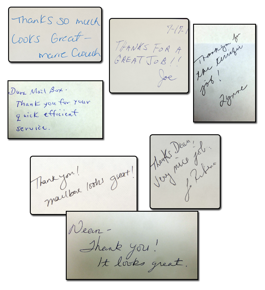 Happy Customers Hand Written Testimonials