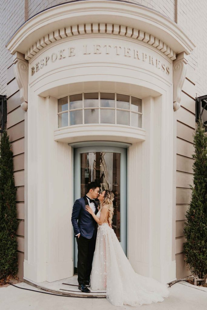 Bride and Groom outside store, Bowral
