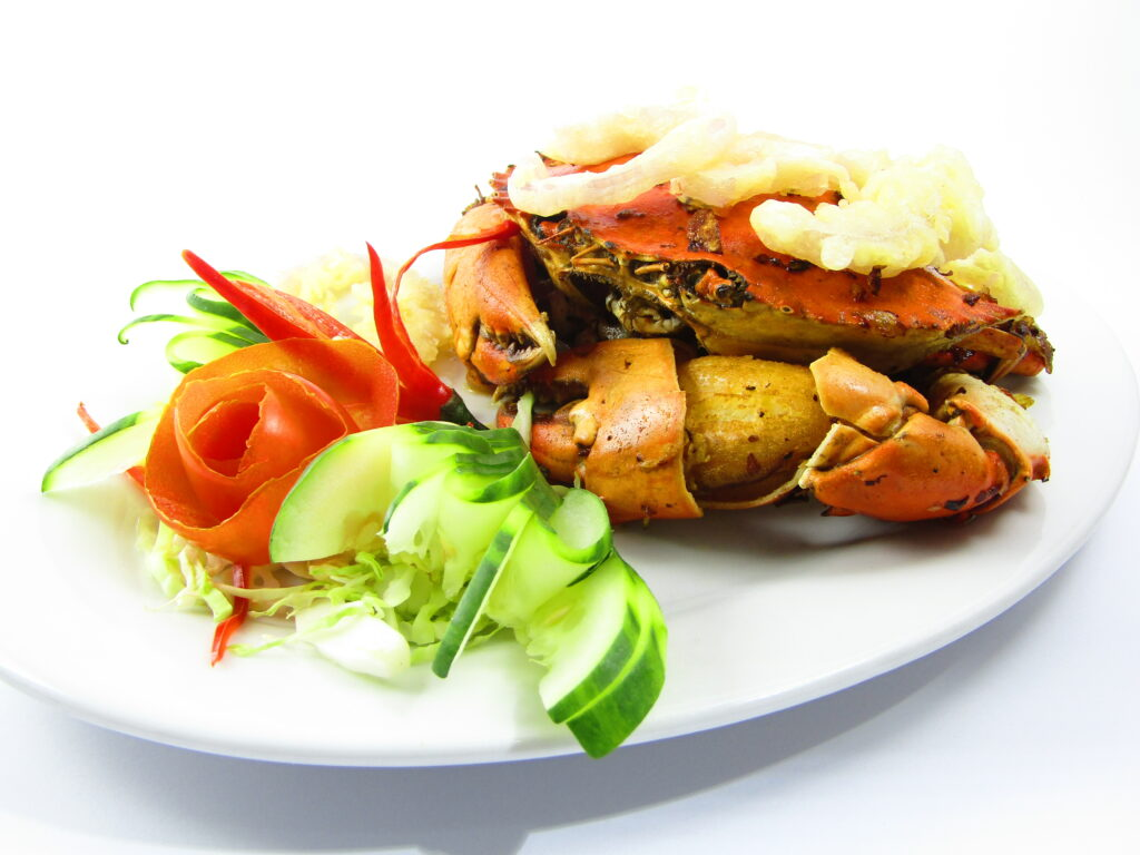 Fried King Crab with Shallots