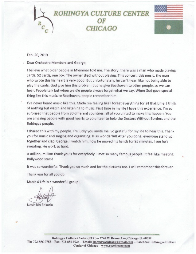 Rohingya Culture Center Carnegie Hall Thank You Letter from Nasir Bin Zakaria