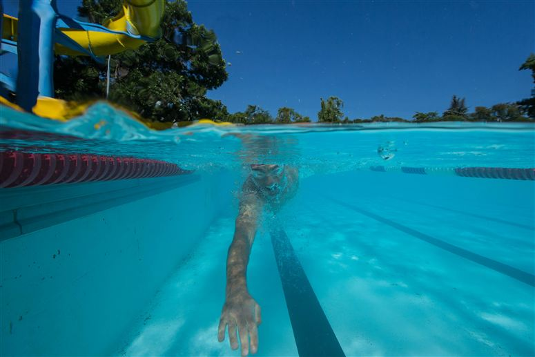 Crowie swims at least two sessions a week. Photo from Specialized