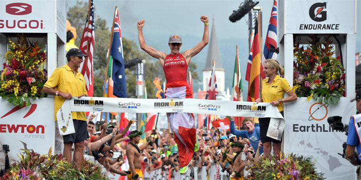 Daniela Ryf leaps to victory at Ironman World Championships 2015. Photo from Ironman