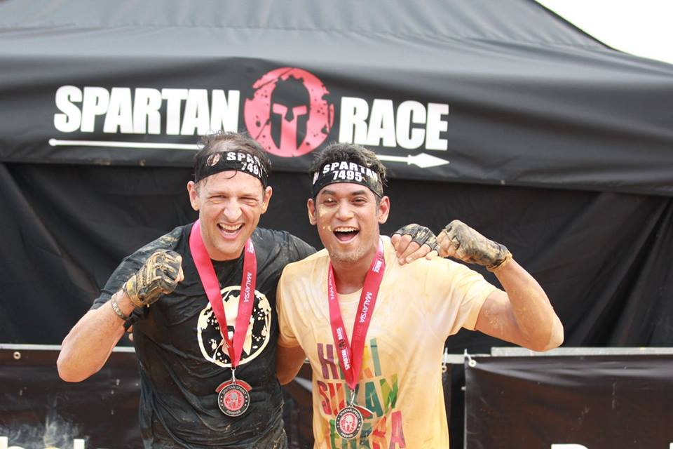 Khairy Jamaludin (right) celebrating his Finisher's Medal. You are Spartan!  Photo from Spartan Race MY