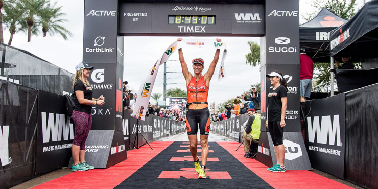 Meredith Kessler led right from the swim to her Ironman victory. Image from Ironman.com