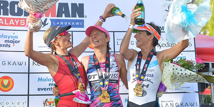 Women's podium with champion Diana Riesler (center), Gurutze Frades and Natascha Badmann. Image from Ironman.com