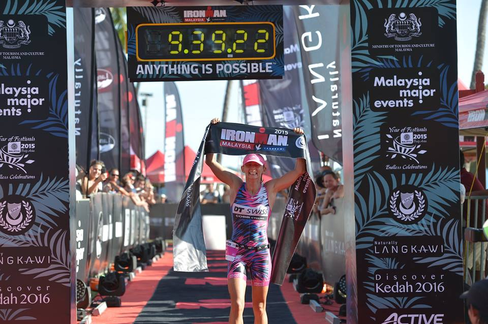 Diana Riesler successfully defends her title at Ironman Malaysia. Image from Ironman.com