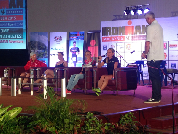 Female Pros at the #IMMalaysia Welcome Dinner with defending champ Diana Riesler, Bree Wee, Kate Bevilaqua and 6x World IRONMAN Champion Natascha Badmann. Image from Ironman.com