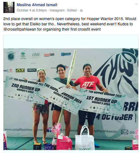 Maslina Ismail right) finished second at Hopper Warrior 2015. Image from Facebook/Maslina.
