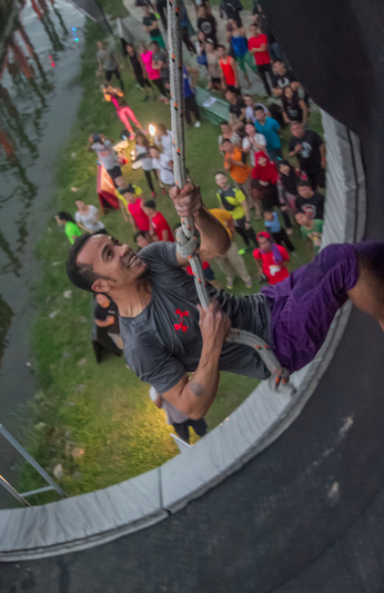 A participant gives it his all at the final obstacle, Danum Valley
