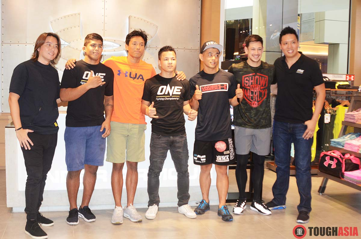 Fr L-R: Adrian Chai (Under Armour), One FC fighters - Agilan Thani. Keanu Subba, Saiful Merican, EV Ting and Peter Davis, Victor Cui (ONE FC CEO)