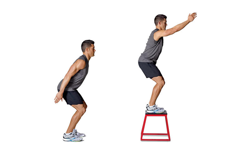 Box jumps increases explosive strength and stamina. (Runnersworld.com)