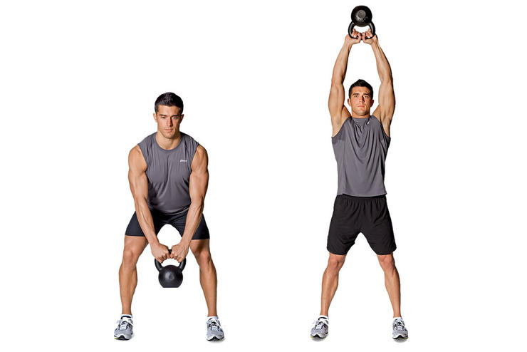 Kettlebell swings hits nearly every muscle, sends your heart rate soaring, and builds flexibility, endurance, and strength (Runnersworld.com)