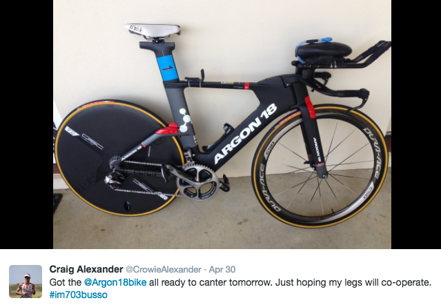 Craig Alexander choice of steed from Argon 18. (Twitter)