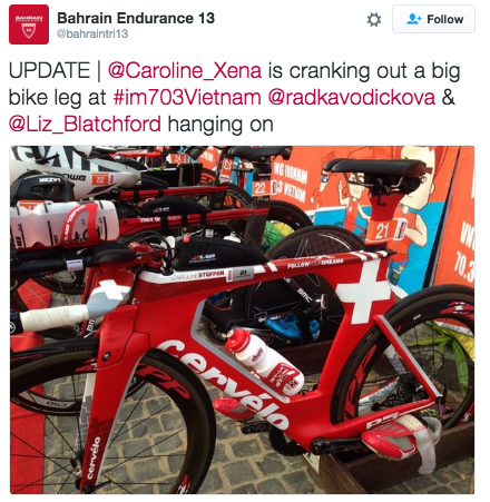 Caroline Steffen's Tri Bike decked in her Swiss national colours for Ironman 70.3 Vietnam. (Twitter)