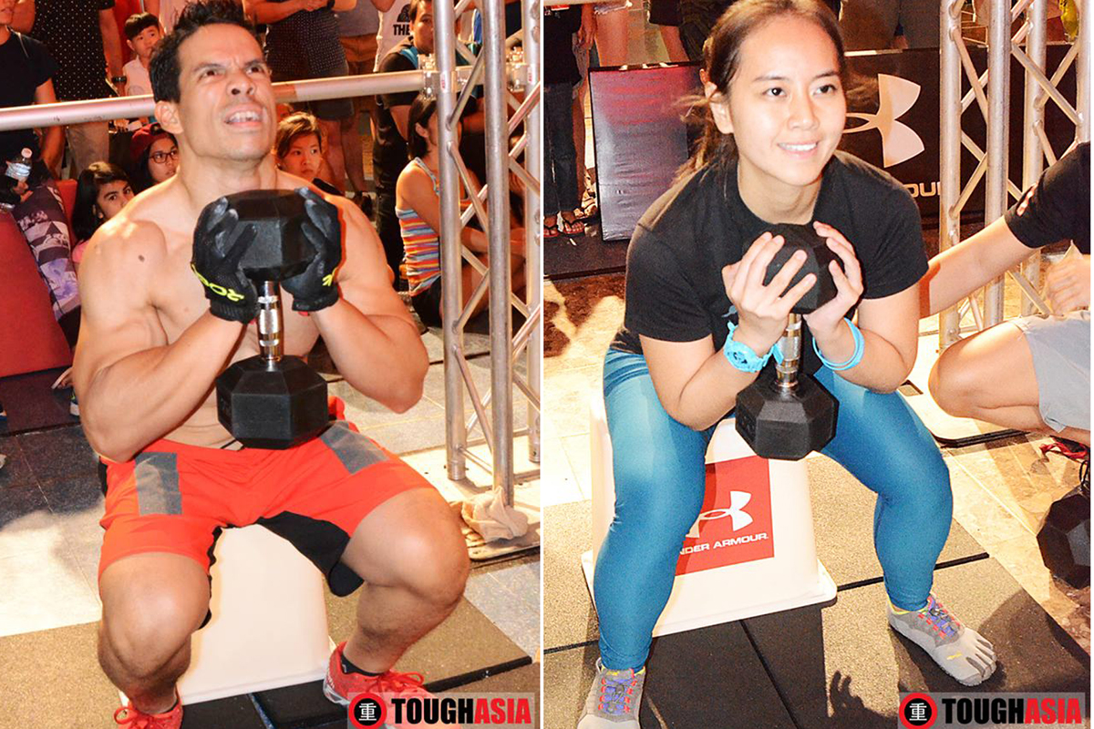 Girl Power makes carrying 10kg in the goblet squat look easy while the Helmy carries 20kg for the guys.