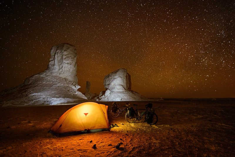 Marino is rewarded with a million star 'hotel' while camping in the Sahara desert. (Nicolas Marino)