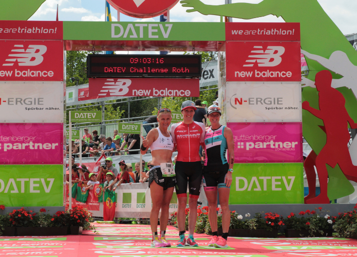 Daniela Ryf flanked by her closest rivals on the women's podium of Challenge Roth. (Team Challenge)