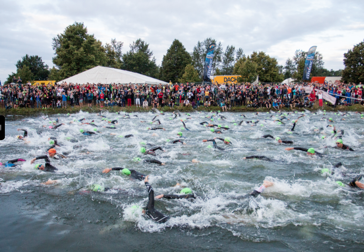 Swim start at Challenge Roth, Germany. (Team Challenge)