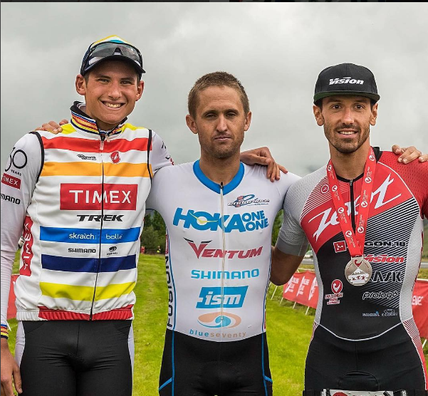 Kevin Collington (center) tops the men's podium at Challenge Iceland. (Instagram)