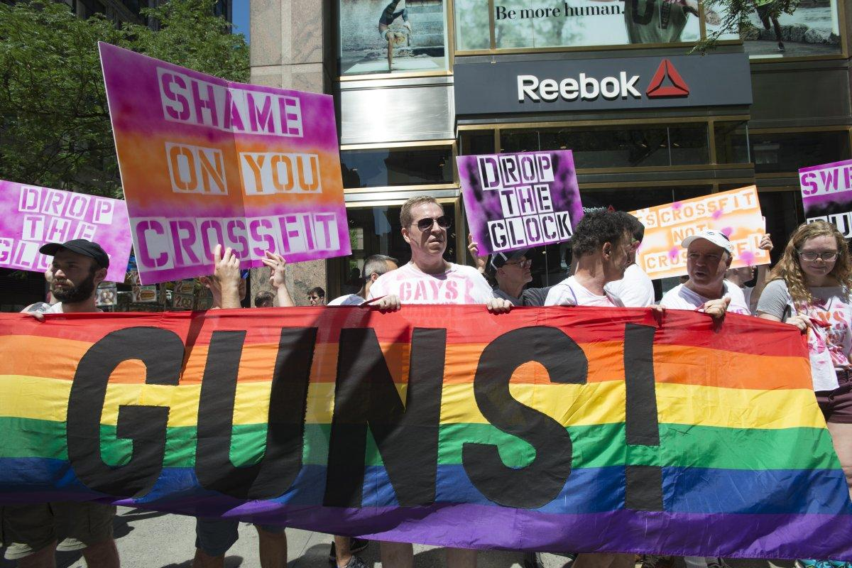 Protestors at Reebok New York stores protesting to Glock as prizes at the recent CrossFit Games. (NY Daily)