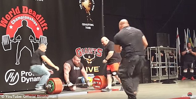 Eddie Hall fell to his knees after lifting his record weight. (Image from video)