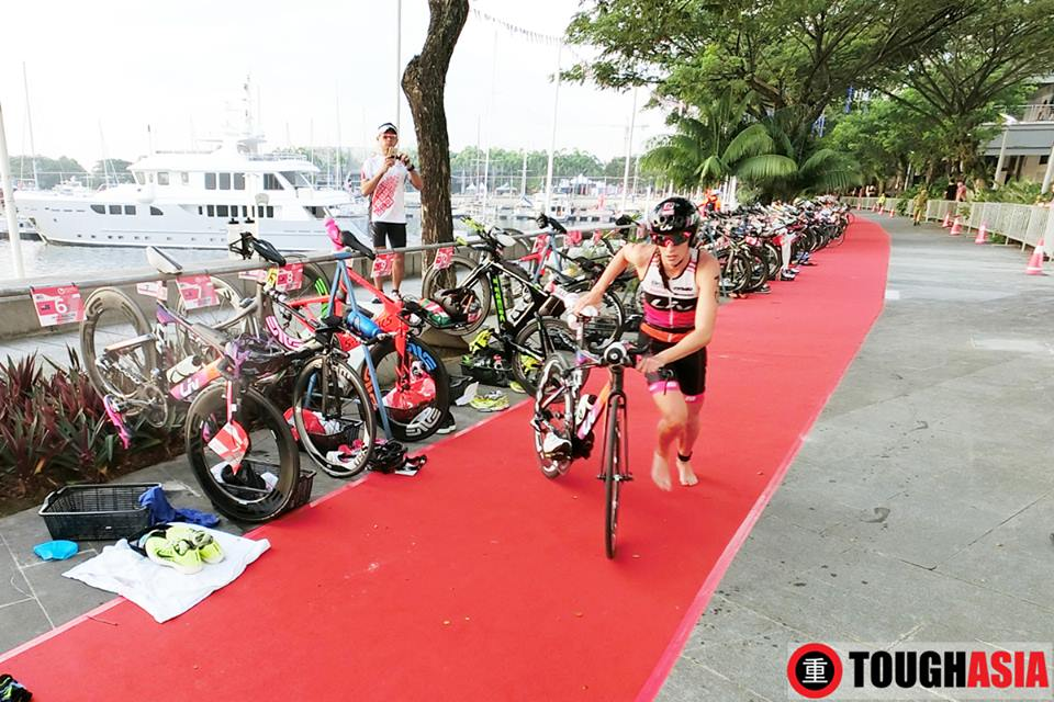 Radka Vodickova in transition 1 onto the bike leg.