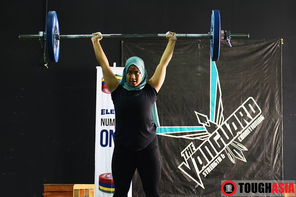 Newcomer Bibah Munir took to the platforms in her first weightlifting competition.