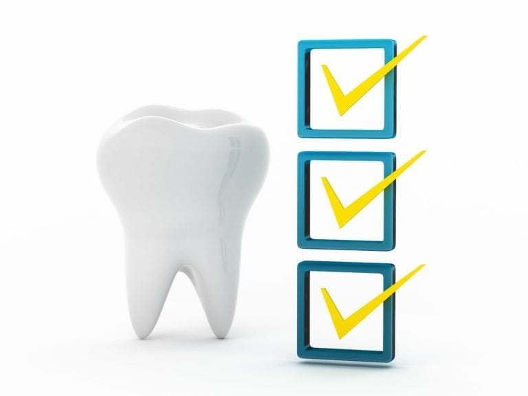 illustration of a giant tooth standing next to three checkmarks stacked on top of each other