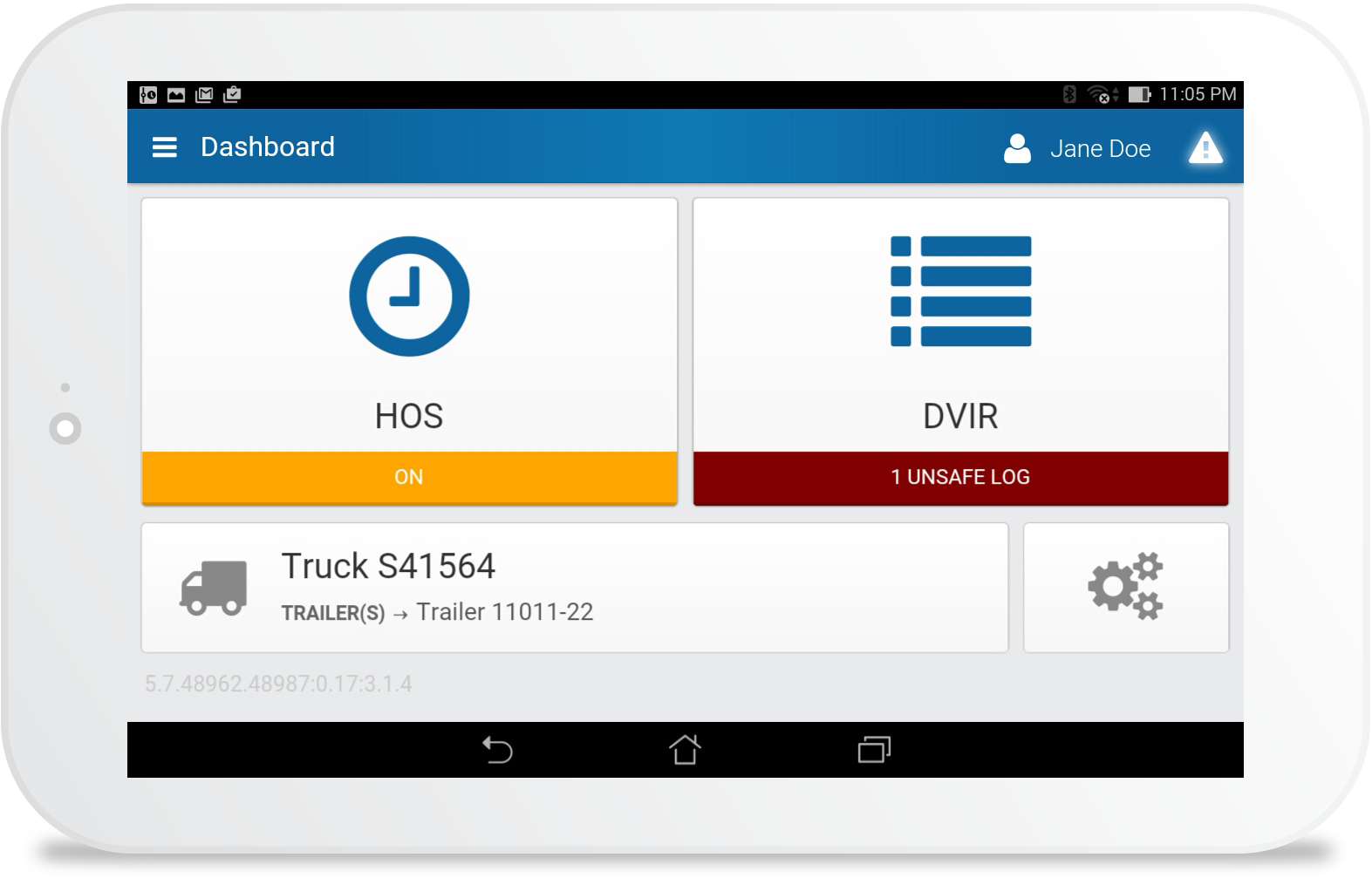 Driver vehicle inspection report (DVIR) on tablet