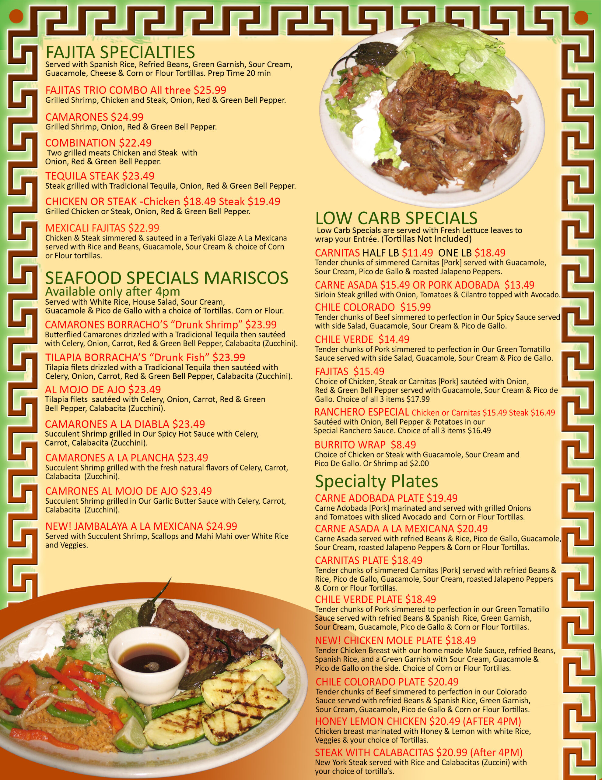 Dinner Menu Mexican Food