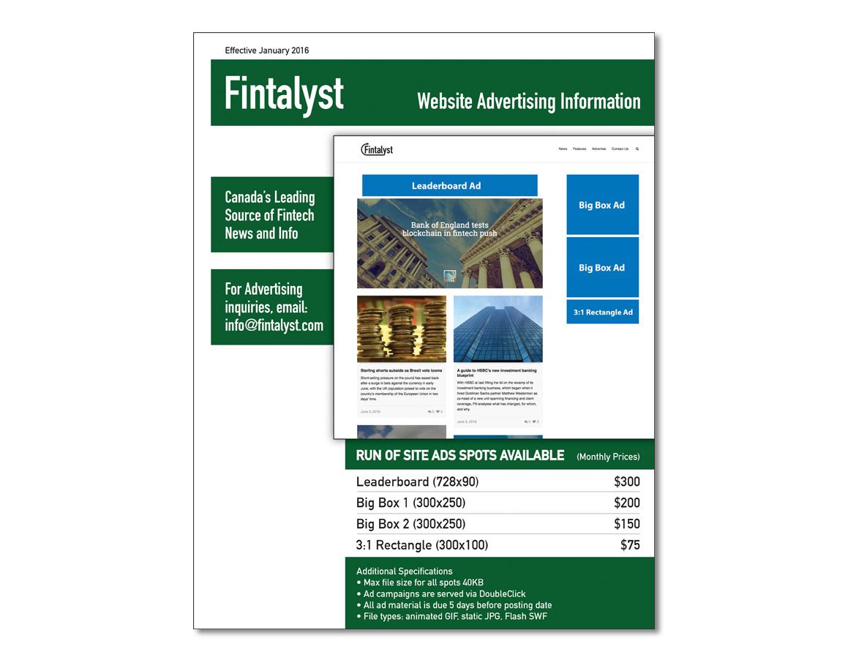 Fintalyst Advertising Rate Sheet
