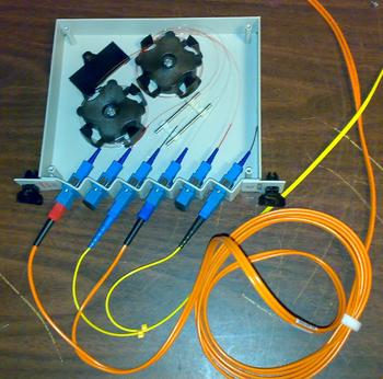 English: a fiber-optic splitter: 2x(input, 90%...