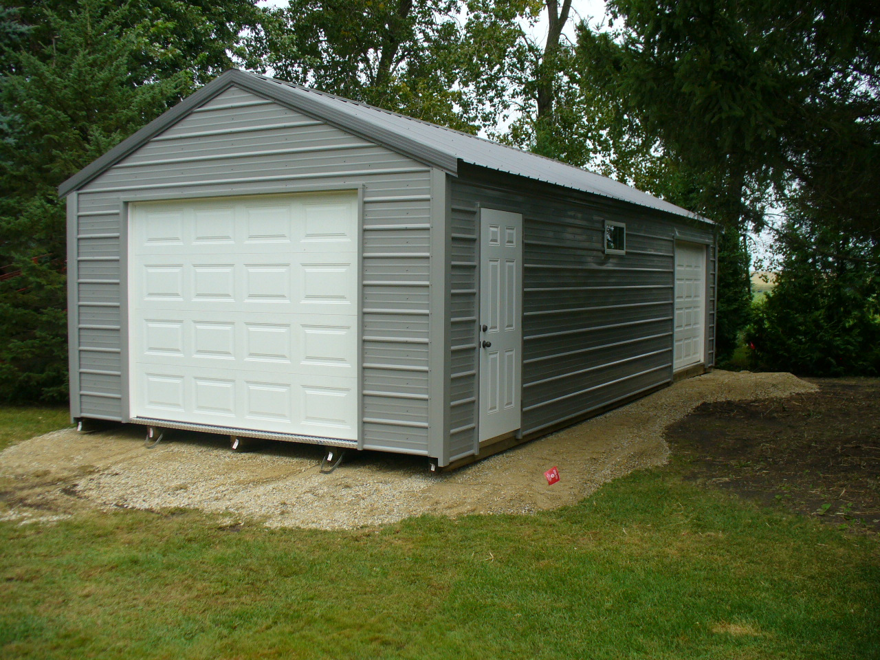 Swedes Portable One-Stall Garage with Over-head Doors