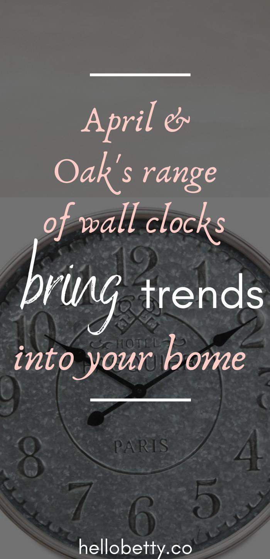 April & Oak's range of wall clocks