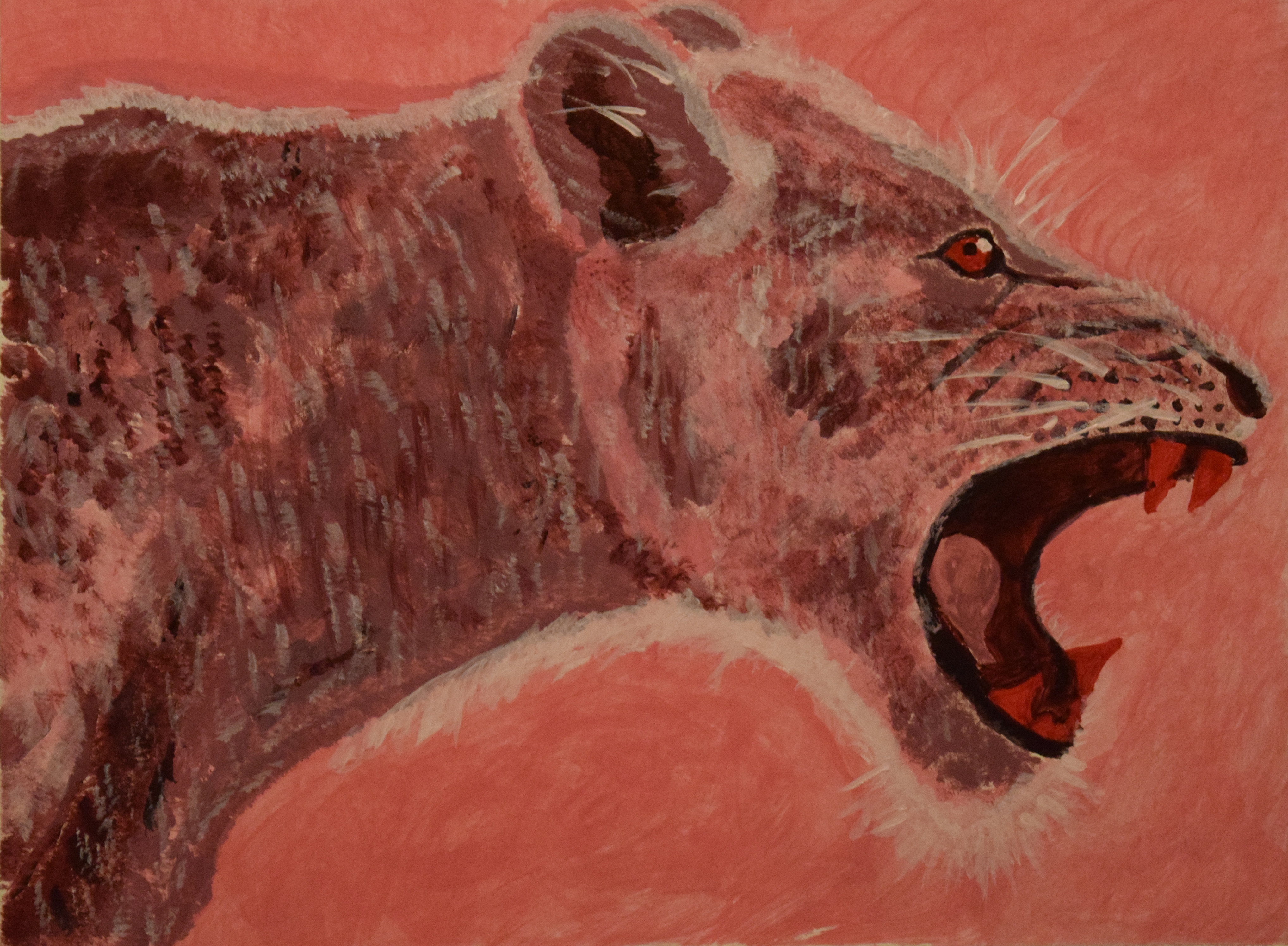 Raspberry Lioness - Acrylic on illustration board - 9 x 12 in.