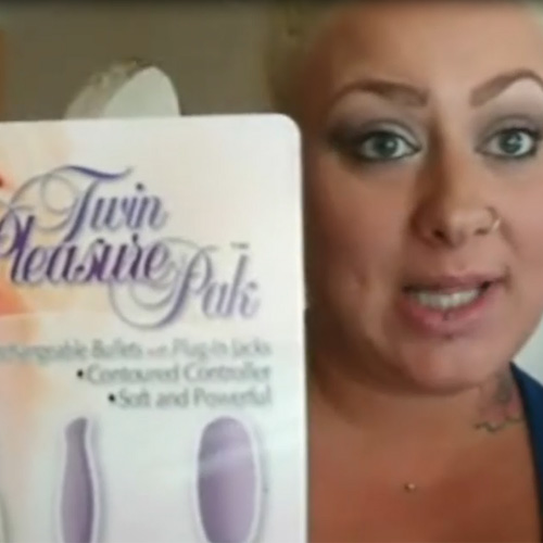 Gorgeous Vikki and the Twin Vibrator Pleasure Pak from Adam & Eve