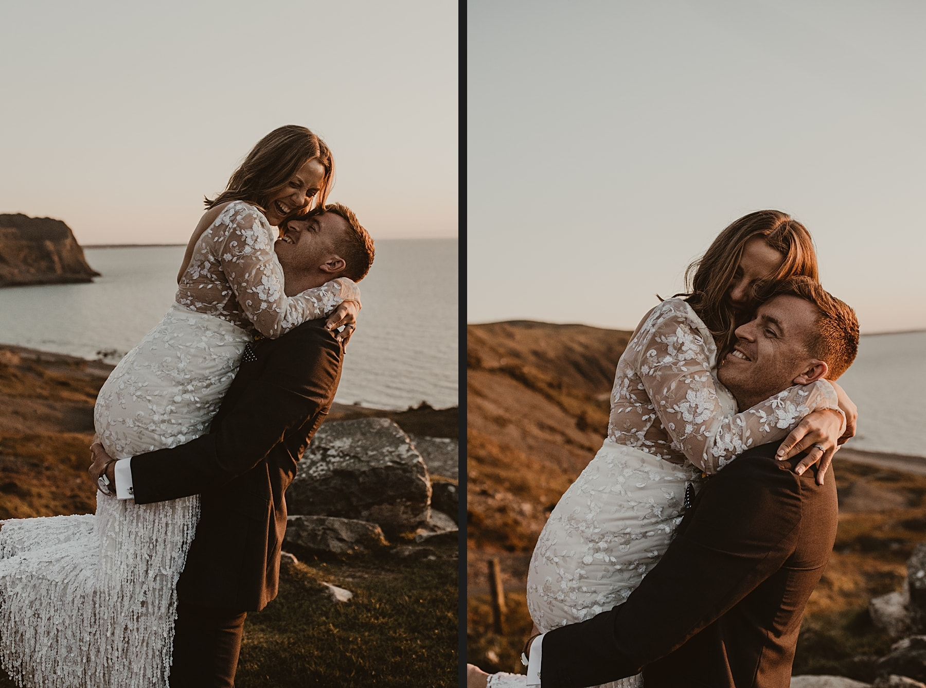 Sunset wedding portrait and Nant Gwrtheyrn
