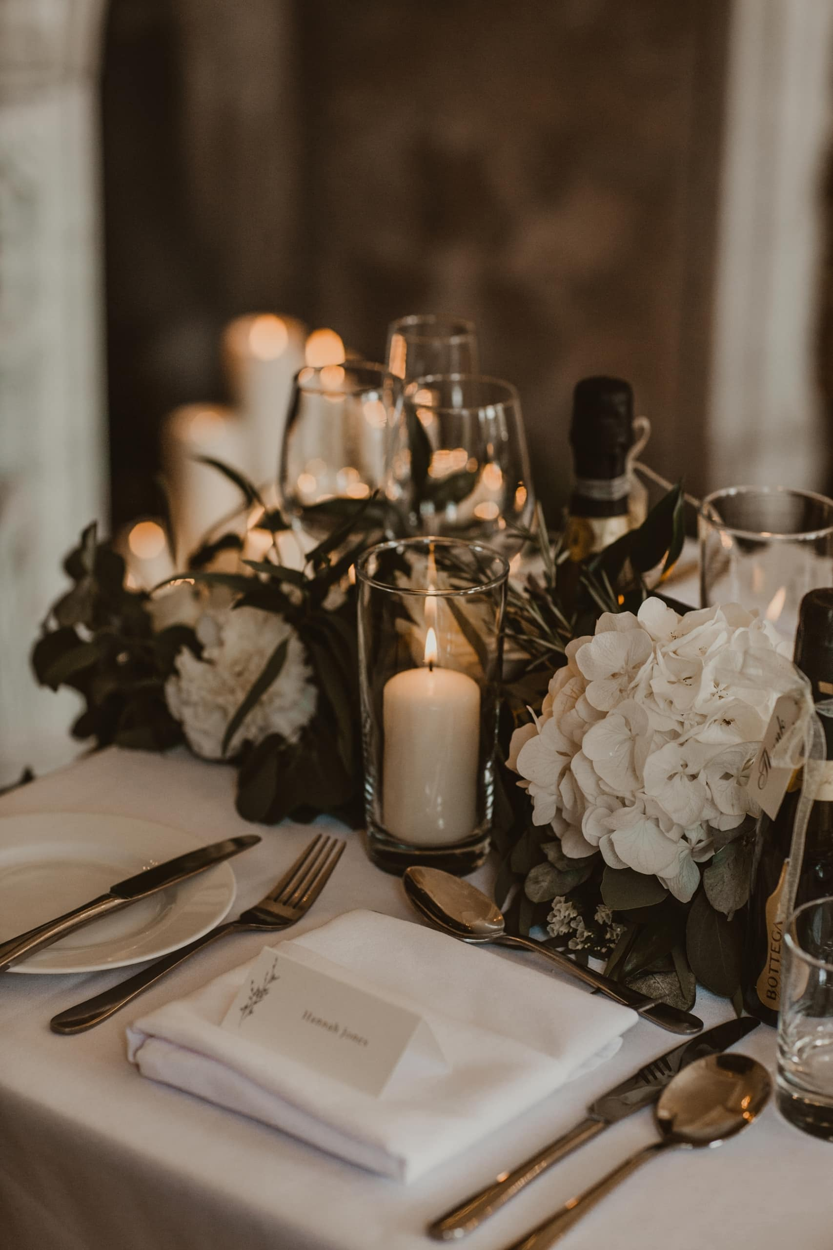 candles and floral table setting