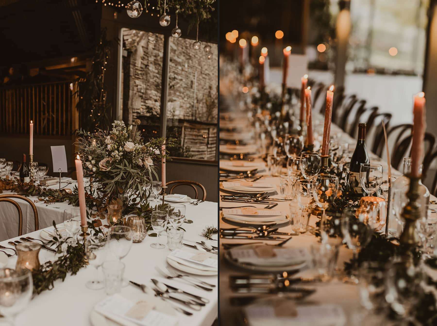 foliage tables cape at Stone Barn, Cripps wedding