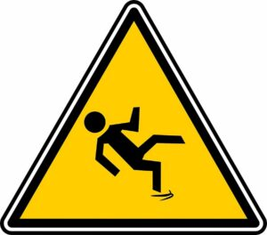 slip and fall caution sign