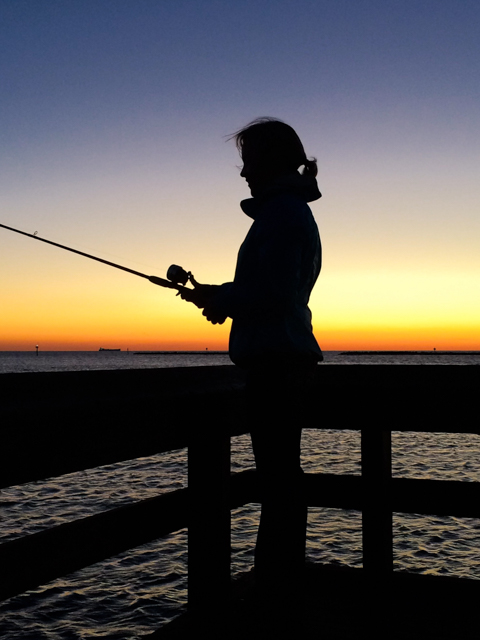 One of the great features of the Cape Charles beach is the free fishing pier! Sunset is a beautiful time to drop a line.