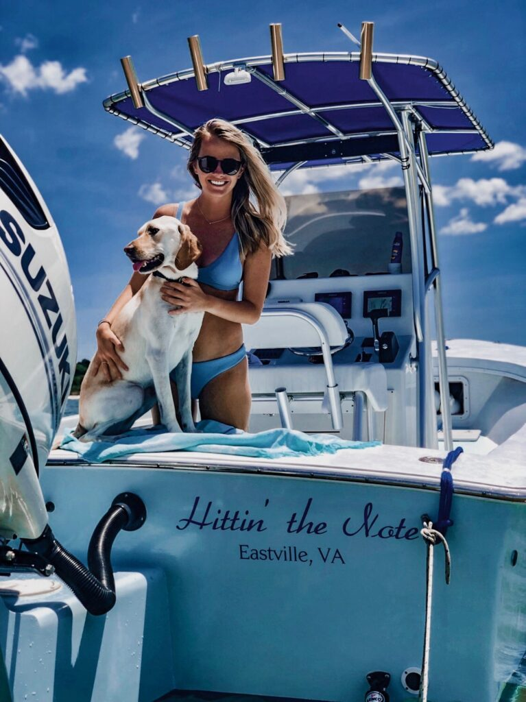 Katie and Theo spending some time boating on the Chesapeake Bay.