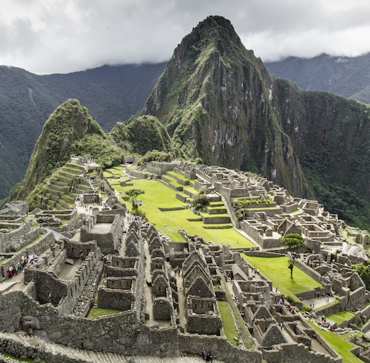 View of the ancient Inca City of Machu Picchu. The 15-th century Inca site.'Lost city of the Incas'. Ruins of the Machu Picchu sanctuary. UNESCO World Heritage site.Peru